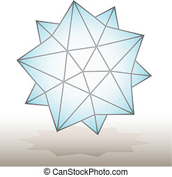 polyhedral figure of a star with gradient vector 3D.
