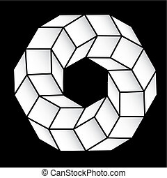 polyhedral figure of a star with gradient vector 3D. -...