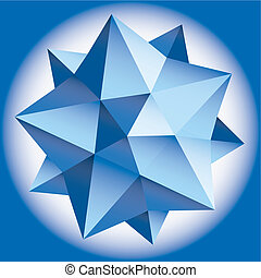 polyhedral, ster, figuur, helling, vector, 3d.