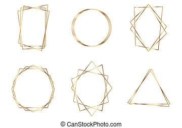 polyhedron., géométrique, cadre, or