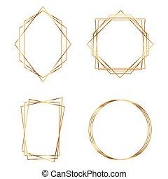 polyhedron., or, cadre, géométrique