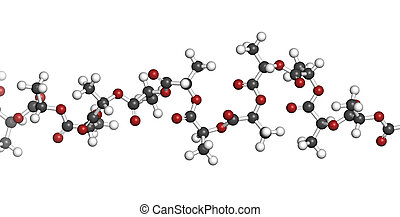 Polylactic acid (PLA, polylactide) bioplastic, chemical...