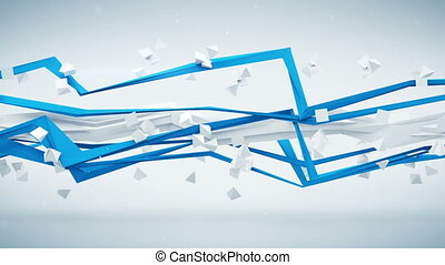 Polyline rotating seamless loop abstract 3D render animation