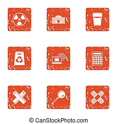 Polymer icons set, grunge style - Polymer icons set. Grunge...