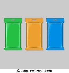 Polymer packaging - Set of polymer packaging in green orange...