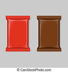 Polymer packaging - Set of polymer packaging in red and...