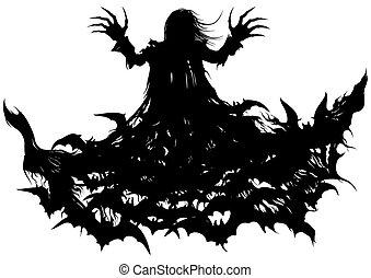 Polymorph vampire - Silhouette of a vampire turning into...
