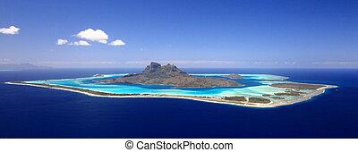 polynésie, day., au-dessus, vue, entiers, lune miel, lagune...