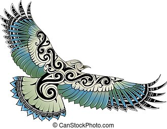 polynésien, oiseau, style, tatouage