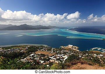 polynesia , λιμνοθάλασσα , raiatea , above., tahaa , γαλλίδα...