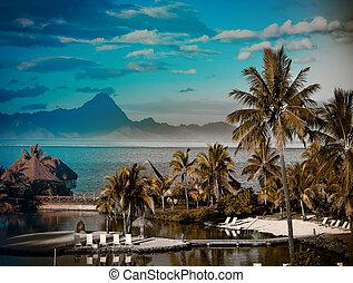 polynesia., ocaso, tahití, efecto, encima, mountain., océano...