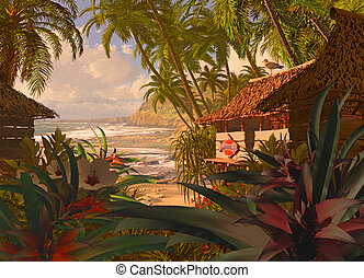 Polynesian Beach Hut - A South Pacific coastline scene, with...