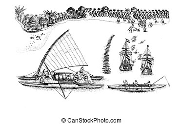 Polynesian canoes, old print - Dutch ships of Abel Tasman...