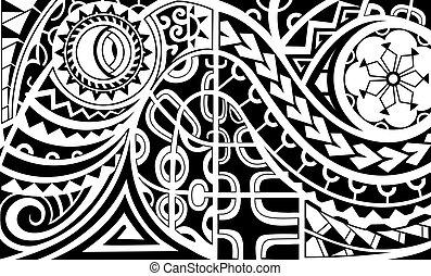 polynesian, estilo, brazalete, tatuaje