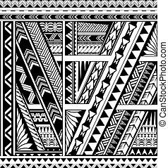 Polynesian style ornamental band for sleeve tattoo