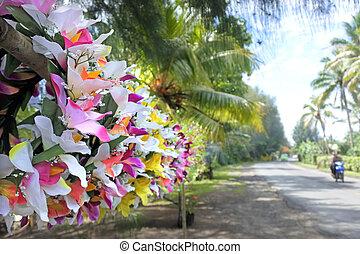 Polynesian flowers head wreaths for sale in Rarotonga Cooks Islands