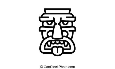 Polynesian idol icon animation outline best object on white background