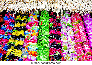 Polynesian Lei garland of flowers in Rarotonga Cook Islands