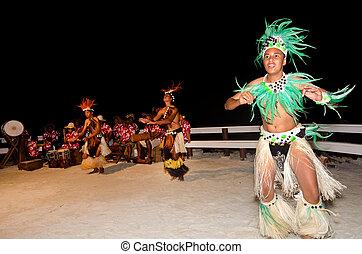 polynesian, maenner, tahitian, junger, insel, tänzer, pazifik