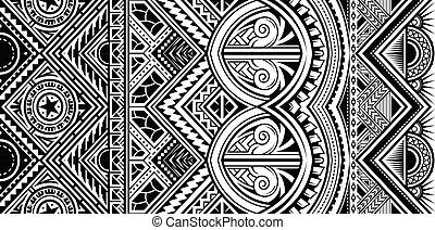 polynesian, ornamento, vector, estilo, tatuaje