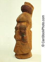 Polynesian statue - polynesian statue carved in wood