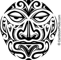 Polynesian style mask tattoo