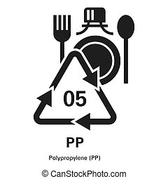 Polypropylene icon, simple style
