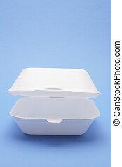 Polystyrene Food Box on Blue Background