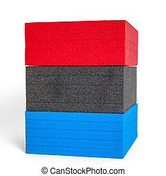 polystyrene forms in colors of the french flag