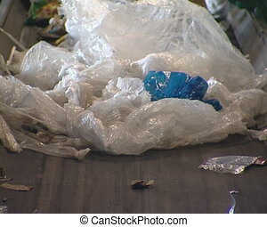 Polythene sorted before processing. Human intervention in...