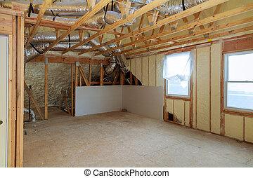 polyurea, trabajo, de madera, espuma, sitio, techo, instalación, lana, termal, debajo, aislamiento, paneles, tablones