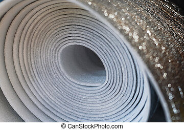 polyurethane, material, cima, isolação, fim, espumou, rolo