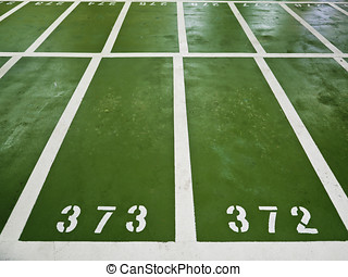 Polyurethane parking lots with numbers indoor