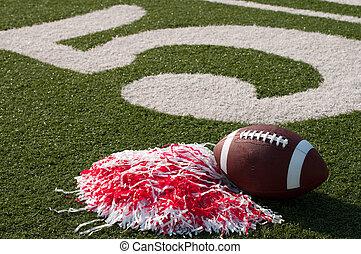 pom, campo, football americano, poms