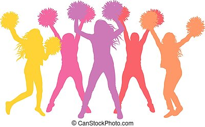 pom-poms., (cheerleaders), flickor, illustration, silhouettes, vektor
