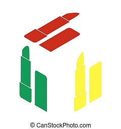 Pomade simple sign. Isometric style of red, green and yellow icon.