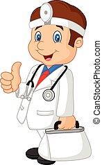 pomagać, doktor, transport, człowiek, jego, pierwszy