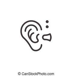 pomagać, kreska, słuch, ikona