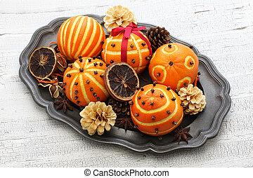 pomander, 装飾, オレンジ, ボール, テーブル, クリスマス