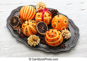 pomander, decoración, naranja, pelotas, tabla, navidad