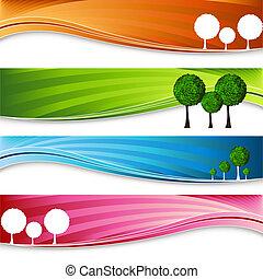 pomar, árvore, bandeira, jogo