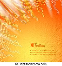 pomarańcza, światła, abstrakcyjny, tło.