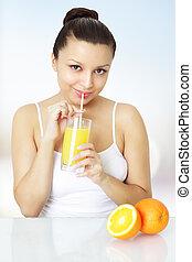 pomarańcza, świeży, dziewczyna, sok