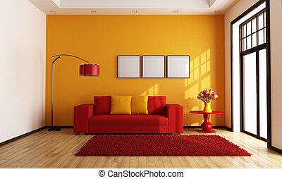 pomarańcza, życie pokój, czerwony