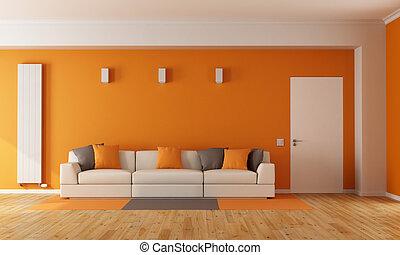 pomarańcza, żyjący, nowoczesny pokój