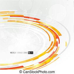 pomarańcza, abstrakcyjny, circle., futurystyczny, 3d