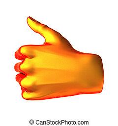 pomarańcza, abstrakcyjny, ok, ręka