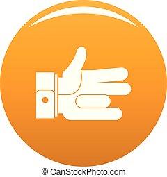 pomarańcza, abstrakcyjny, wektor, ręka, ikona