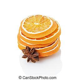 pomarańcza, anyż, gwiazda, zasuszony, kromki