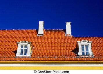 pomarańcza, błękitne niebo, dach, przeciw